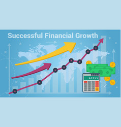 charts showing successful growth of money vector image