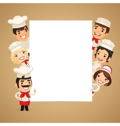 Chefs Presenting Empty Vertical Banner vector