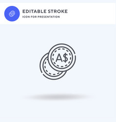 Coin icon filled flat sign solid vector