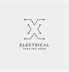 Connect or electrical x logo design icon element vector