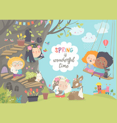 Cute cartoon children with animals in spring vector