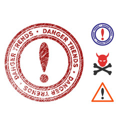 danger trends watermark with grungy style vector image