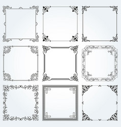 decorative frames and borders square set 3 vector image vector image