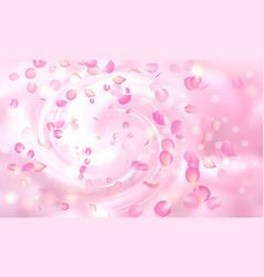Delicate background with falling pink rose vector