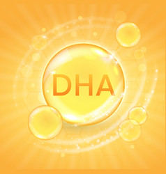 Dha from omega-3 fatty acid supplement shiny oil vector
