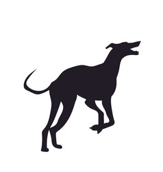 Dog runs silhouette vector