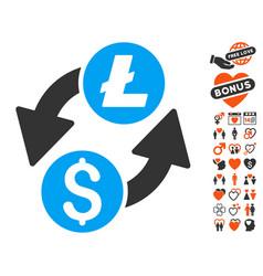 dollar litecoin exchange icon with love bonus vector image