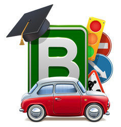 Driving school concept with automobile vector