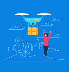 drone deliver box parcel to young woman consumer vector image
