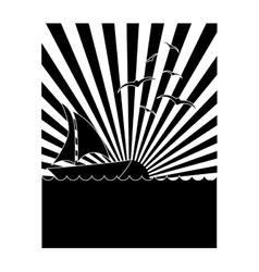 emblem style tropical island icon image vector image