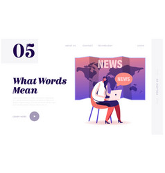 Fake news landing page template female character vector
