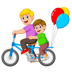 father with happy kid riding a bike vector image