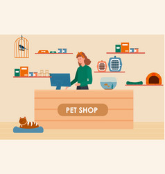 female character is working at a counter in a pet vector image