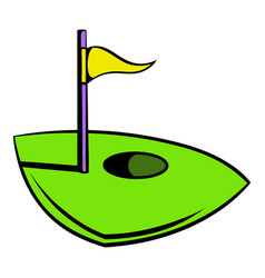 flag on a golf course icon icon cartoon vector image