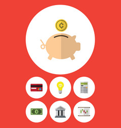Flat icon incoming set of greenback money box vector