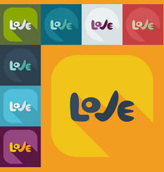 Flat modern design with shadow icons love vector