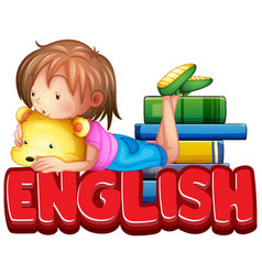 font design for word english with cute girl and vector image