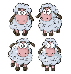 four sheep cartoon icons isolated on white vector image