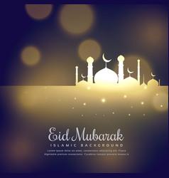 Glowing mosque silhouette design eid mubarak vector