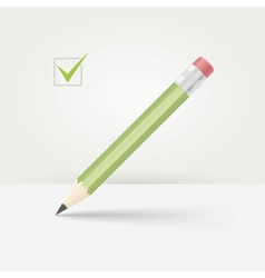 Green wooden pencil vector image