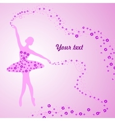 Greeting card with tender ballerina holding vector