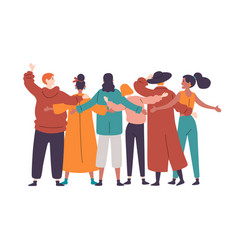group diverse happy people standing together vector image