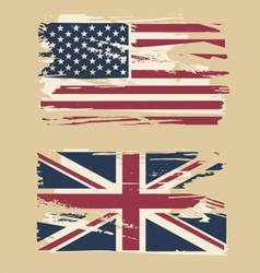Grunge flags usa and uk vector
