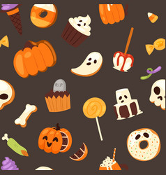 halloween sweets seamless pattern pumpkin vector image