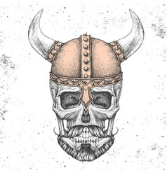 hand drawing hipster skull with viking helmet vector image