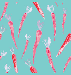 Hand painted watercolor carrots on acqua vector