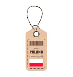 hang tag made in poland with flag icon isolated on vector image