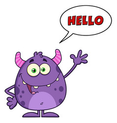 happy cute monster with speech bubble vector image