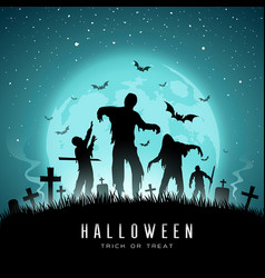 Happy halloween zombies and bat on full moon vector