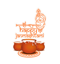 Happy krishna janmashtami concept design vector