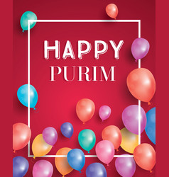 Happy purim holiday card with air balloon on red vector