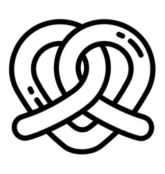 heart pretzel icon outline style vector image