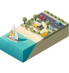 Isometric beach camping vector