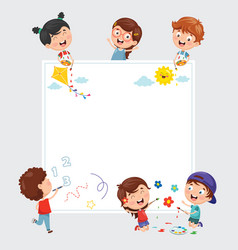 Kids painting on white banner vector