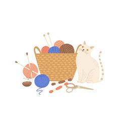 Knitting kit and cute cat flat vector