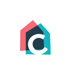letter c house home overlapping color logo icon vector image