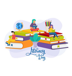 Literacy day student people group education vector