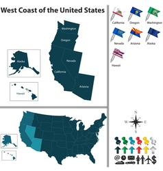Map west coast united states vector