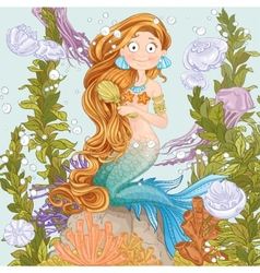 Mermaid combing long hair on undersea background vector