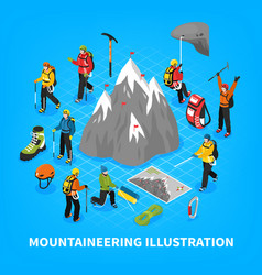 Mountaineering isometric vector