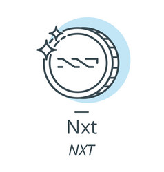 nxt cryptocurrency coin line icon of virtual vector image