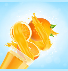 orange juice splash with glass and orange fruit vector image