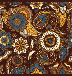 Oriental seamless pattern with ethnic buta motifs vector