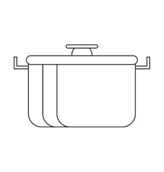 Outline pot food element camping vector