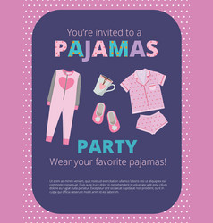 pajama party poster invitation for night party vector image