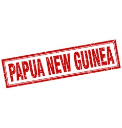 Papua New Guinea red square grunge stamp on white vector
